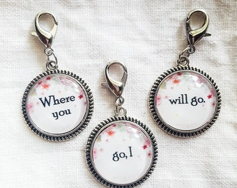 Ruth 1:16 Where You Go, I Will Go Friendship Charms, Set of Three, Best Friends, Girlfriends, Clip On Purse or Clothing
