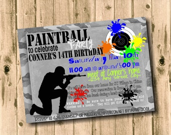 5 x 7 inch PAINTBALL Party Invitation Printable Download