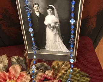 Swarovski Crystal and Art Beaded Necklace/handmade necklace/blue brown opal beads/wedding gift/Antique Portrait