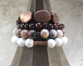 boho beaded stretch bracelet stack/stackable beaded stretch bracelet set/neutral toned beaded stretch bracelets/boho bracelet stack