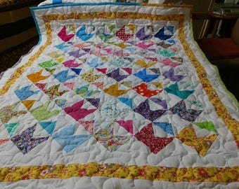 Handmade Pieced-Boy-Girl-Scrappy-Love-Notes-Envelopes  Baby Crib Lap Quilt Blanket Made in Arkansas Ozarks