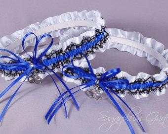 Thin Blue Line Police Officer Lace Wedding Garter Set