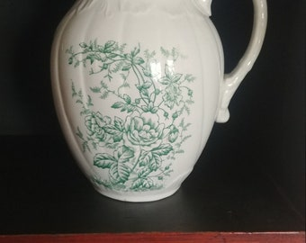 19th Century Green Floral Ironstone Pitcher