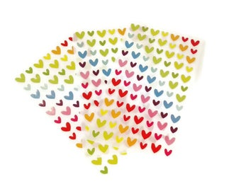 3 sheet stickers with small hearts in different colors