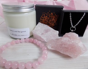 ROSE QUARTZ Crystal&Candle box - Candle gift box - Crystal gift - Rose Quartz gift box - Surprise box - Candle subscription box