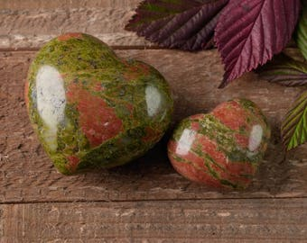 One UNAKITE Heart Crystal - 1.2 or 1.7 inch Pocket Stone Healing Crystal Heart Polished Stone Heart, Heart Stone, Unakite Jewelry E0166