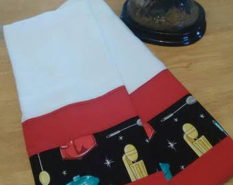 Pair of Dish towels in colorful print with kitchen appliances