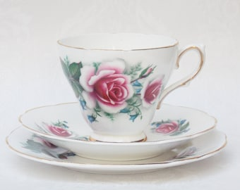 Teacup Trio, Teacup and Saucer, Tea Trio Set, Sutherland China, Roses, Pink Teacup, Flowers, 1960s Kitchen, Wedding China, Tea Party - 1960s