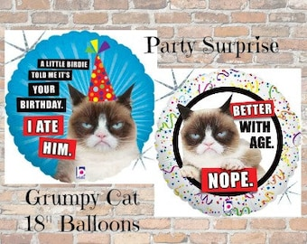 Grumpy Cat Balloons Birthday Better with Age Nope! I Ate Him Grumpy Cat Party Balloons Paw Print Cat Party Supplies
