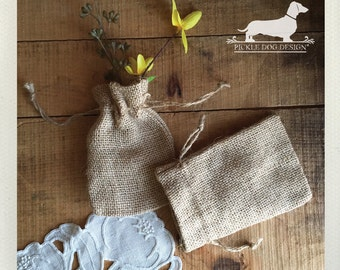 LAST CHANCE! Set of 4 Natural 3x5 Mini Burlap Bags -- (Vintage-Style, Boho, Rustic Chic, Small, Gift Wrap, Wedding Favor Bag, Party Favor)