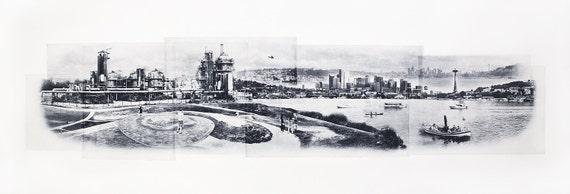 Seattle Fine Art - Original Art - Photographic Etching - Art Print - Photography - Washington - Photogravure - Photo Collage - Gasworks Park
