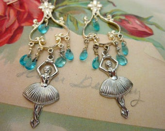 DANCING BALLERINAS vintage ANTIQUE assemblage earrings