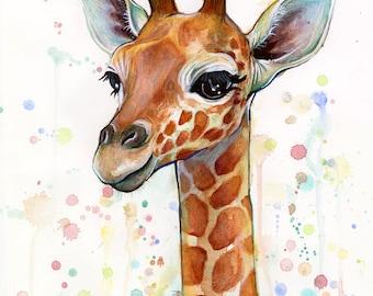 Nursery Art Decor Print Baby Giraffe Watercolor Baby Animal, Baby Girl Baby Boy Children Colorful Zoo Animal