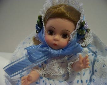 Baby in blue Madame Alexander doll 8 in