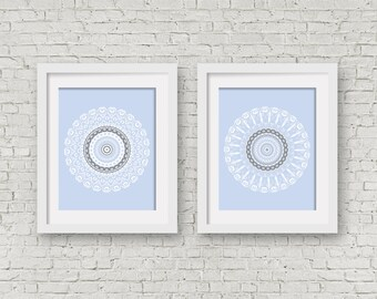 Pastel pictures set of 2 prints loft wall decor college dorm art light blue white laundry decor blue nursery art two posters grey wall art