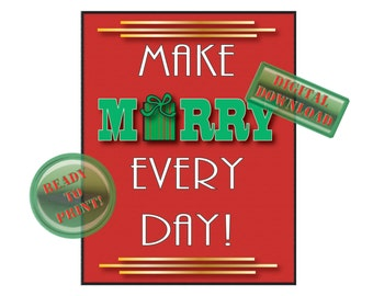 Make Merry Christmas Sign Printable Diner Decor Roaring 20s Digital Holiday Part Art Decor Table Centerpiece Red Green Decorations