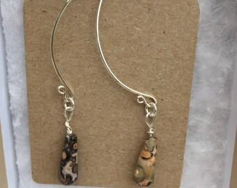 Jasper Sterling Silver Earrings, B Wishbone Earrings, Leopard Jasper Earrings, Handmade Earrings, Designer Gemstone Earrings