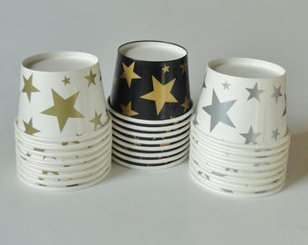 1 Set of Party Cups/Bowls - Gold Silver Stars - Ice Cream Cups, Baby Shower, Birthday, Graduation, Wedding, Twinkle Twinkle Little Star