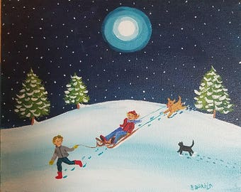 """Snow Fun original painting on 8""""x 10"""" canvas, ready to hang."""