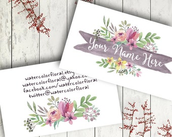 Custom business card design printable watercolor floral modern graphics grey pink flowers digital download business branding