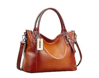 Large Leather Shoulder  Bag With Personalized Luggage Tag