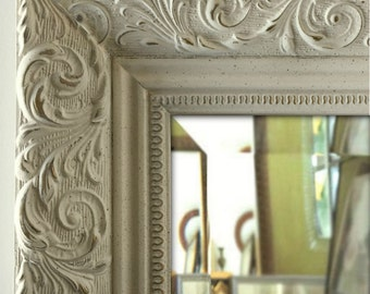 Bella Ornate Embossed Framed Wall Mirror Antique White
