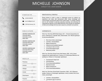 Resume Template, Clean Resume Instant Download, Professional Resume Template,  Creative Resume Template For