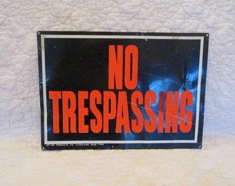 Vintage Sign Metal NO TRESPASSING SALE