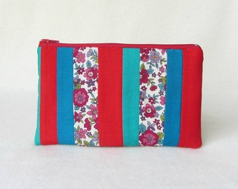 Patchwork pouch, zipper pouch, make up bag, gift for her, pencil case, red and blue