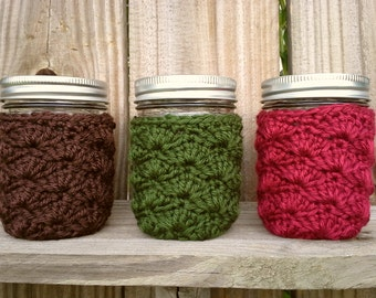 Mason Jar Cozy - Half Pint Sized Jar Cover - Crochet Jar Sleeve - Acrylic - Home Office Holiday Decor - You Choose Color  - MADE TO ORDER