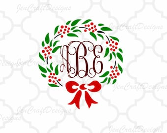 Holly Wreath Christmas SVG, DXF, EPS,Png cutting files for use with Silhouette Studio and Cricut Design Space