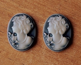 2pcs Plastic cabochons 26mm x 37mm with a lady portrait in white on grey
