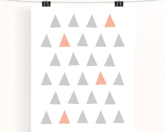 Abstract geometric poster, grey triangle print, baby girl nursery art, kids room wall art, peach and grey nursery print, nursery decor