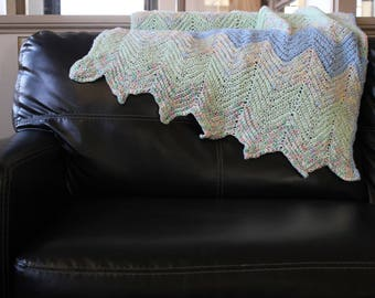 Hand Knit Pastel Chevron Striped Baby Blanket