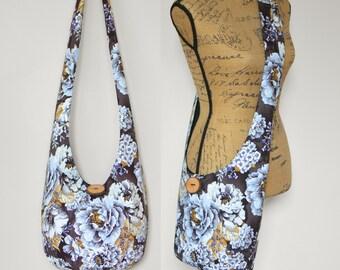 Hobo Bag Boho Bag Cross Body Bag Hippie Purse Sling Bag Bohemian Purse Floral Hobo Purse Hippie Bag Boho Purse Crossbody Purse Fabric Bag