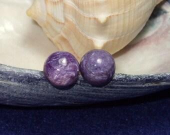 Natürliche Charoit 8mm Runde Bolzen Typ Ohrringe Ohrringe Titan Hypo Allergen handgefertigt in Neufundland reich
