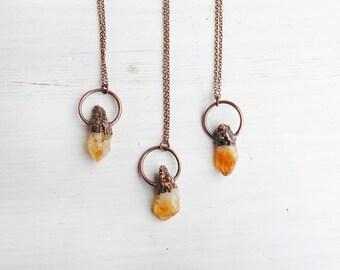 Raw citrine necklace, citrine point necklace, raw crystal necklace, citrine copper, november birthstone jewelry, boho necklace, boho jewelry