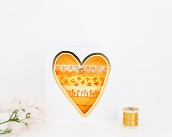 Gold Greeting Card, Gold Foil, Heart Card, Wedding Anniversary, Engagement Present, I love you, Bridesmaid gift, Maid of Honor gift