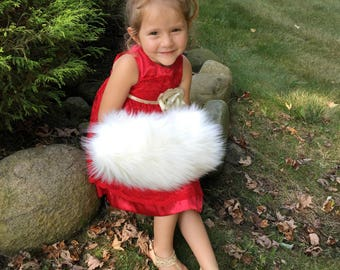 Children's Faux Fur Hand Muff - Winter Wedding Accessories - White or Ivory fur with satin fabric interior