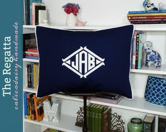 The Regatta Applique Framed Monogrammed Pillow Sham - Standard 20 x 26