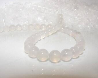 Translucent white agate ball 8.00 mm. Semi precious stone.