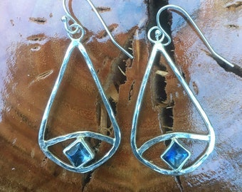 Evil Eye Earrings - Hammer Textured Sterling Silver and Blue Iolite Gemstones