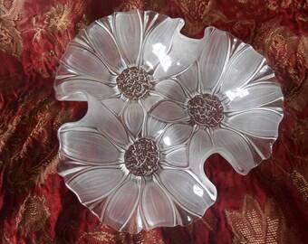 Vintage Glass Flower Bowl