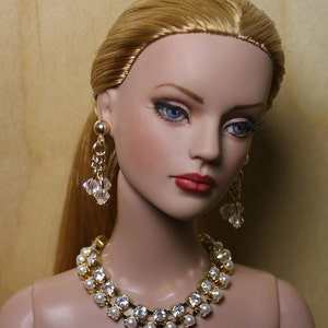 """AB Crystal & Pearls"""" Jewelry Suite For Sydney Chase, Tyler Wentworth, Ellowyne Wilde And Other Same Size Dolls"""