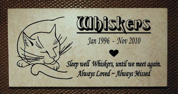 "Cat Memorial plaque. Maintenance Free 12""x6""  ""Whiskers"" Design"