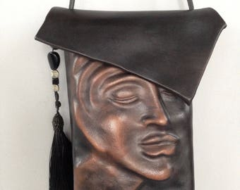 "Leather Purse  ""Pursona ""  Bag ""Second"", by Einbender Studios in Antique Black"