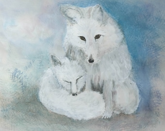 Arctic Foxes Mama and Baby Original Watercolor painting by artist Joy Neasley