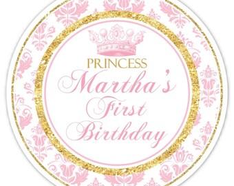 Princess Birthday Labels, Custom 1st Birthday Labels, 1st Birthday Stickers, Pink Damask, Gold Glitter First Birthday, Princess 1st Birthday