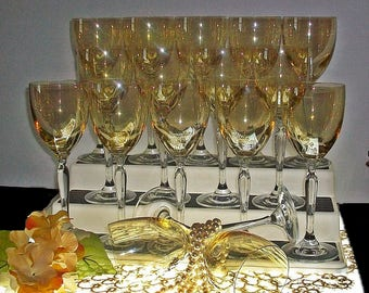 Vintage Set Of Gold Iridescent And Crystal Wine Goblets ~ Set Of 16! ~ Free Shipping And Insurance!