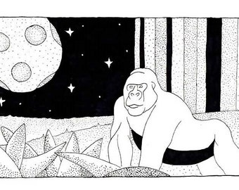 Gorilla black and white drawing print
